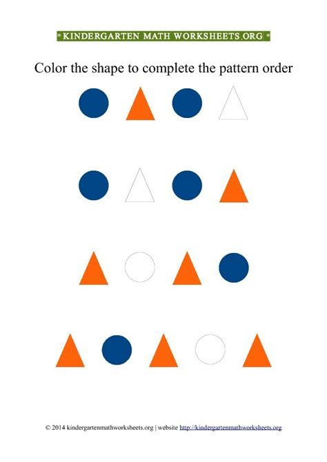 color pattern worksheets for kindergarten kindergarten color patterns triangles circles kindergarten math worksheets org