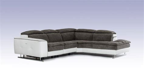 Made in Italy Grey and White Fabric and Leather Sectional
