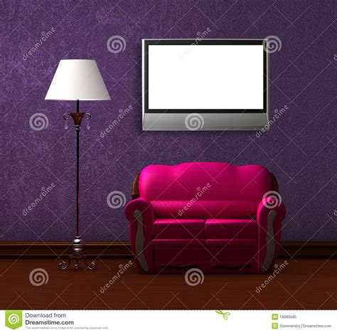 couch online tv pink couch and standard l with lcd tv royalty free