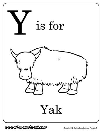 free coloring pages yak y is for yak letter y coloring page pdf
