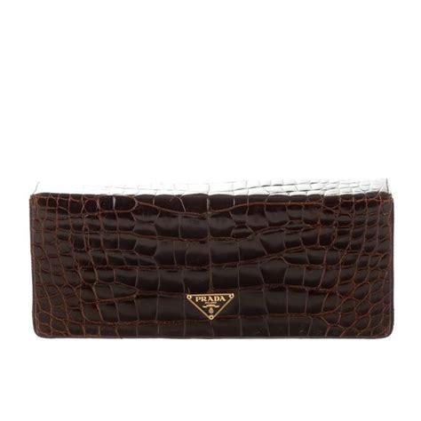 Cc Clucth Bag Prada 112 1 prada chocolate brown gator skin leather gold evening