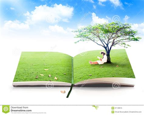 nature s gift books beautiful asian reading book of nature stock photo