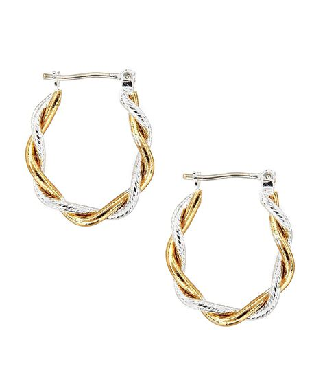 dillard 180 s tailored two tone hoop earrings dillards