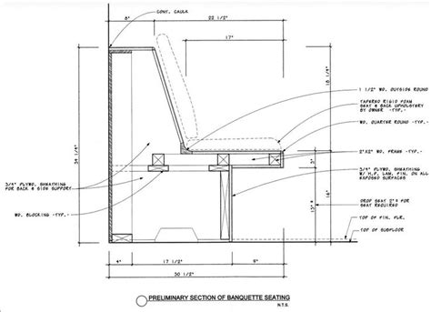 Dimensions For Banquette Seating by Diy Banquette Plans Drawing
