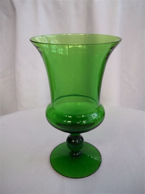 Green Glass Vases Antique by Vintage Forest Green Glass Footed Vase