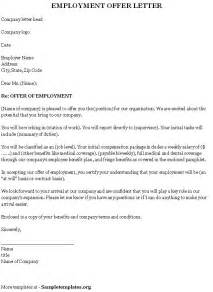 template offer of employment letter employment template for offer letter sle of employment