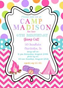 12 girls camping birthday party invitations with envelopes