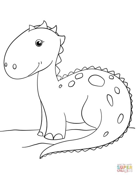 cute cartoon dinosaur coloring page free printable