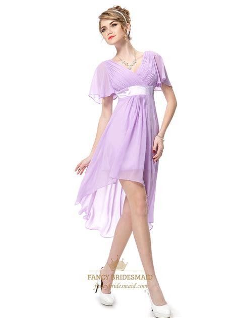 lilac chiffon  neck high  bridesmaid dresses