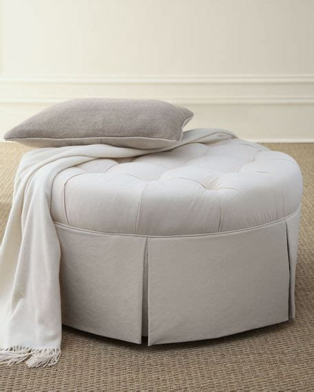 round tufted ottoman with skirt ellsworth collection tufted ottomans