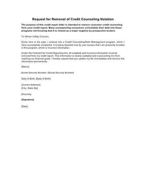 Letter Of Explanation For Credit Counseling Sle Letter Request For Removal Of Credit Counseling Notation