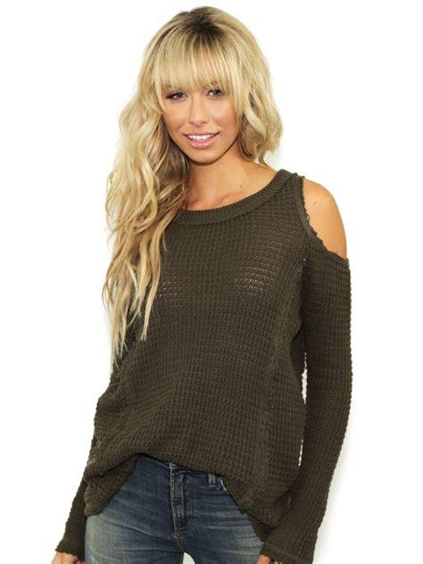 Import Peek A Boo Sweater elan peek a boo sweater in olive in green olive lyst