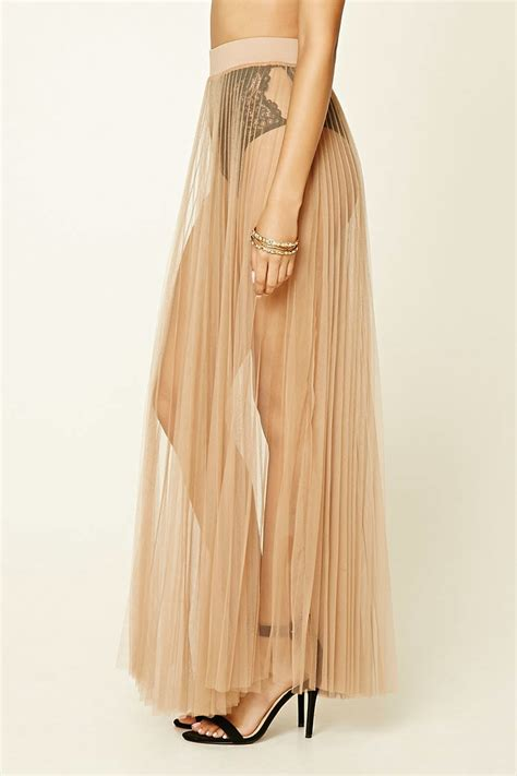 forever 21 sheer pleated maxi skirt in lyst