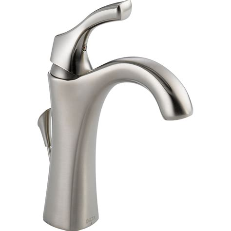 one handle bathroom faucets shop delta addison stainless 1 handle single hole 4 in