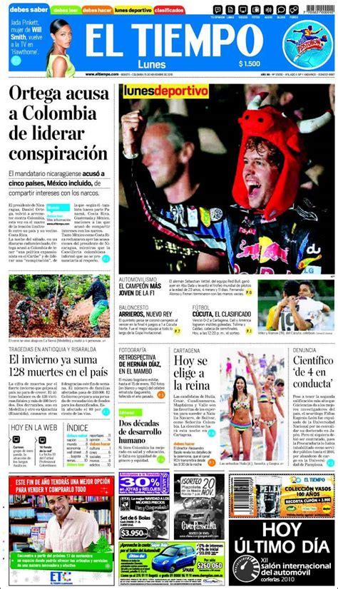el tiempo de los portada del peri 243 dico el tiempo colombia todos los peri 243 dicos de colombia edici 243 n de lunes