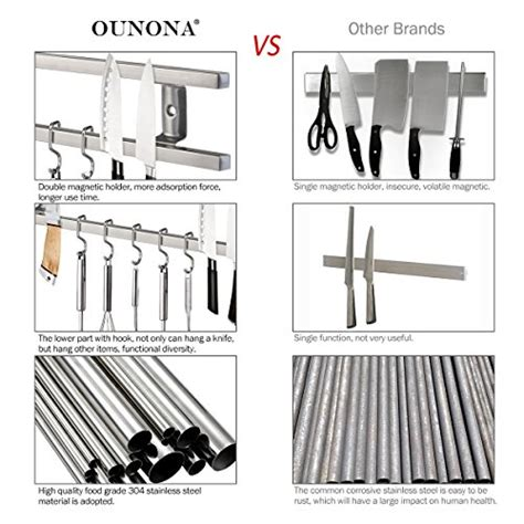 qunona magnetic knife bar with removable hooks tiny house