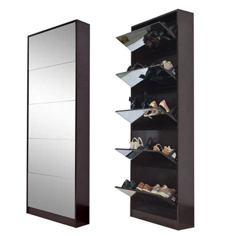 shoe storage with mirror 2016 high quality wooden mirror shoe rack with 5 layers