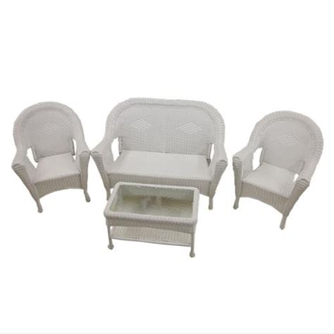 4 white resin wicker patio furniture set 2 chairs