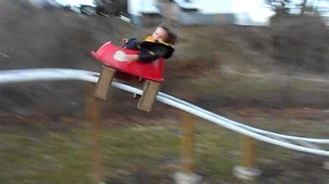 kids backyard roller coaster parents build backyard roller coaster for kids video abc news