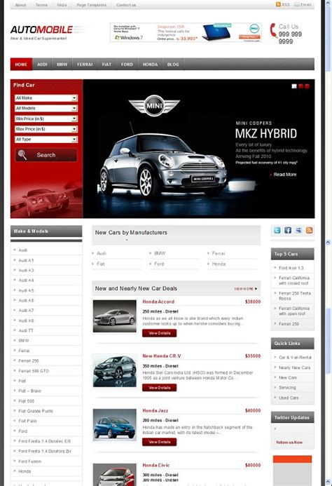 templatic automobile wordpress theme for garage owners