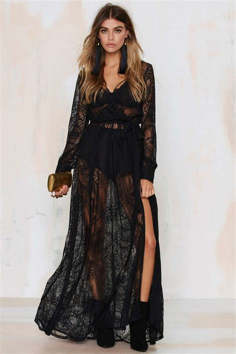 Lace Sheer Dress gal one and only lace maxi dress black in black lyst