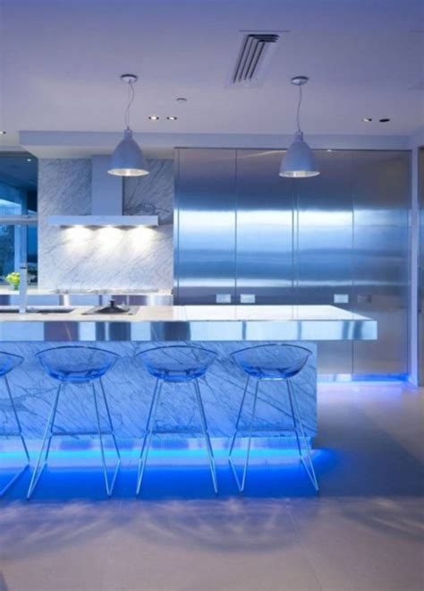Ultra Modern Kitchen Design With Led Lighting Fixtures Led Kitchen Light Fixtures