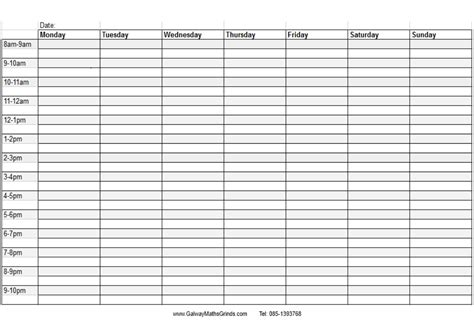 free weekly calendar template with times fieldstation co regarding