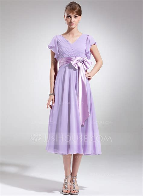 A Line/Princess V neck Tea Length Chiffon Mother of the