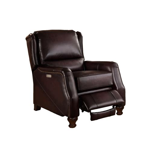 Brown Leather Recliner Davis Traditional Genuine Brown Leather Powered Reclining Chair