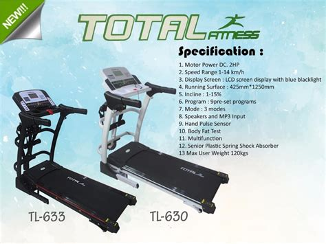 Treadmill Electric Tl 630 Auto Incline With Peer Jual Treadmill Electric Tl630 Total Health