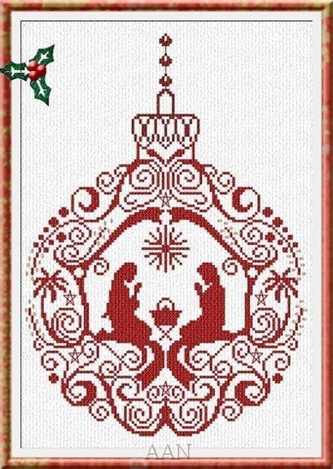 manger ornament christmas cross stitch chart aan