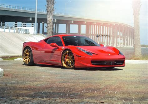 ferrari 458 wheels rosso corsa ferrari 458 italia on bronze strasse wheels