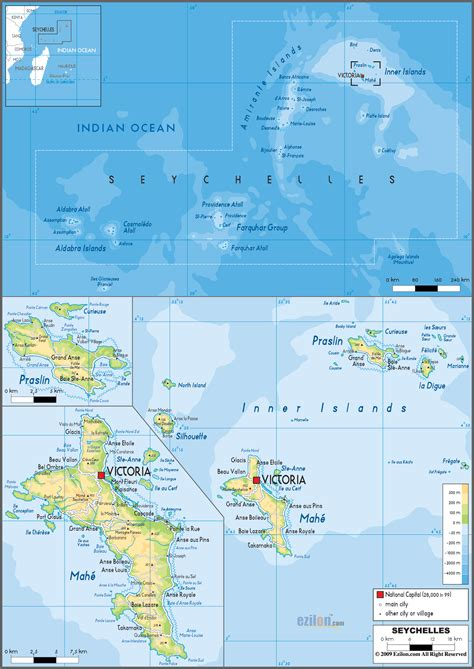 seychelles map physical map of seychelles ezilon maps