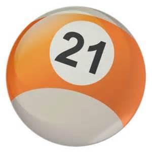 Number 21 billiards ball plates zazzle