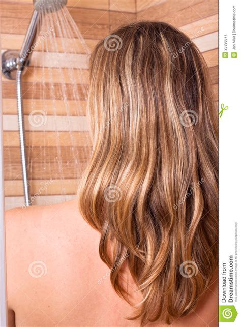 images of hair woman with highlighted hair in shower royalty free stock