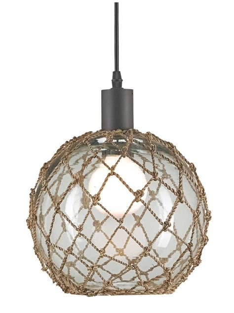 Beachy Pendant Lights Large Glass Buoy Float Pendant Cottage Home 174