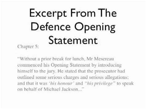opening arguments books book 1 michael jackson defence opening