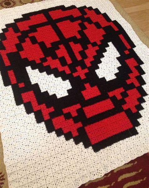 spiderman graphghan pattern crochet for children spiderman pixel crochet blanket