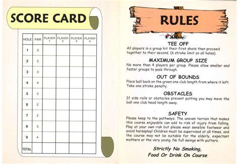 scoreboard for card score cards of golf miniature golf and adventure