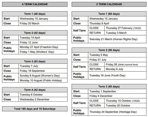south african school terms  public holidays  south africa