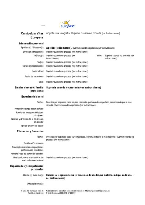Plantilla De Curriculum Vitae En Espanol Ejemplos Curriculum Vitae Espa 241 Ol