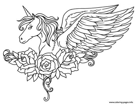black and white coloring pages of unicorns print ornate winged unicorn flowers coloring pages