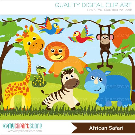 safari clipart safari animals vector clipart baby quilts