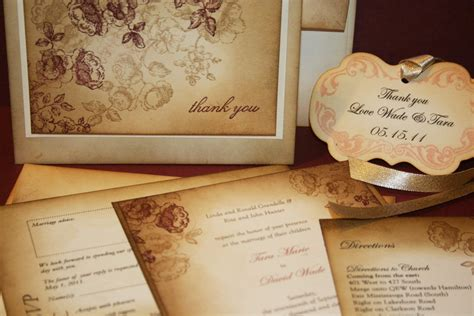 shabby chic vintage wedding invitation suite by anistadesigns