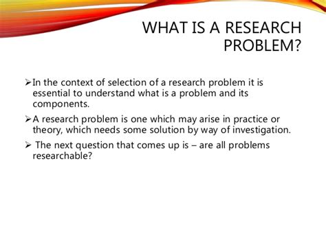 what is the research research problem criteria and characteristics