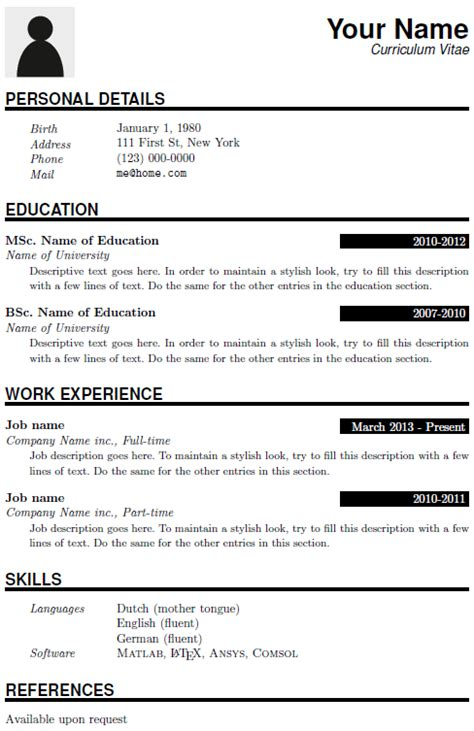 tex resume templates cv15 latex templates typesetting