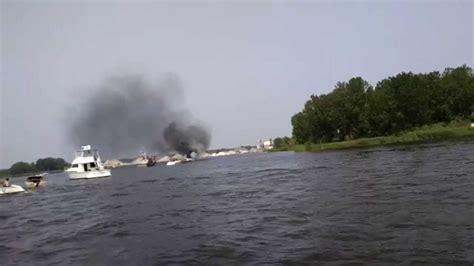 cooks river boat r boat burns in grand river near grand haven s harbor island