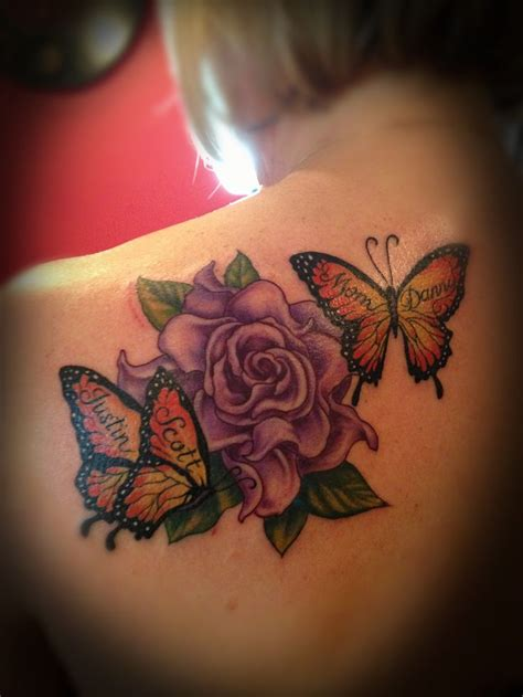 flower tattoo designs with names flower and butterfly tattoo tattoos pinterest