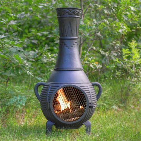 chiminea spark lid the blue rooster cast iron pine chiminea by the blue
