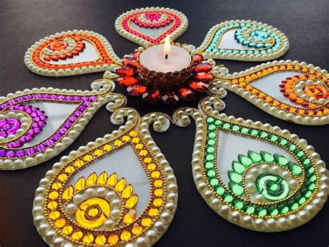 Kundan Diya Decoration by This Rangoli Would A Total Of Seven Pieces Which Can